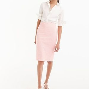 J. Crew No.2 Pencil skirt in pink gingham size 12